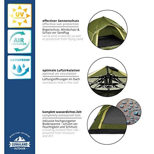 Lumaland Outdoor leichtes Pop Up Wurfzelt 3 Personen Zelt Camping Festival etc. 210 x 190 x 110 cm robust Grün - 5