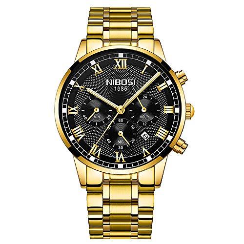 Herrenuhren Chronograph 3 Zifferblätter Kalender Römische Armbanduhren für Herren Edelstahl Uhrenband, Gold-schwarz