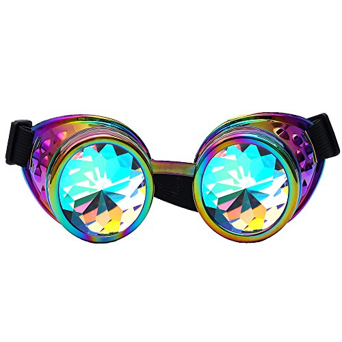 DODOING Kaleidoskop-Brille Steampunk, Goggles mit Rainbow Crystal Gläser - für Weihnachten, Halloween, Cosplay, Tanzparty, Convert, Musik Festival, EDM, Light Show, Foto Stütze, Outdoors Sports (Bunt)