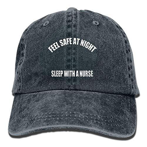 her nachts schlafen Sie mit Einer Krankenschwester Fashion Washed Denim Cotton Sport Outdr Baseball-Mütze verstellbar One Size Navy 03VV9365 ()