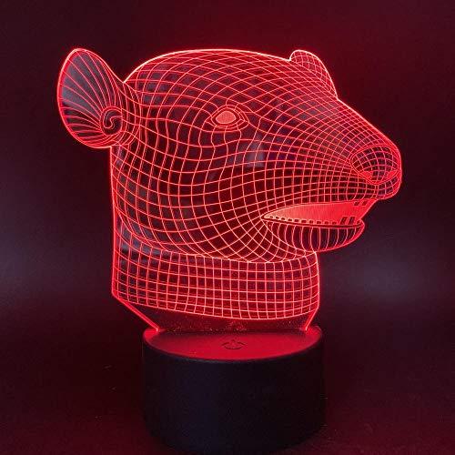 3D Illusion Lampe LED Nachtlicht Optische Tischlampe 7 Farben Berührungsschalter Fernbedienung USB-Kabel Nachtlampe dekoratives,Sternzeichen Maus für Kinder Baby Boy Geburtstag Weihnachtsgeschenk - Usb-maus Cobra