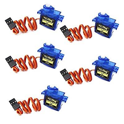 RCmall 5PCS Pack SG90 Mini Servo 9g Micro Servo Motor for RC Helicopter Airplane Car Boat Robot Controls