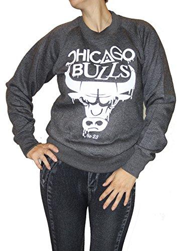 Damen Kult Pullover Chicago Bulls Baseball College warmes Sweatshirt (M, Dunkel-Grau)