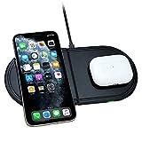 Kdely Cargador inalámbrico Rápido 2 en 1 Qi Cargador Inducción 10W para iPhone...
