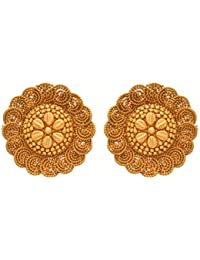 JFL - Traditional Ethnic One Gram Gold Plated Spiral Designer Stud Earring For Women & Girls