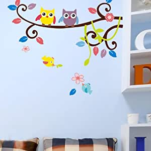 Restly(TM) Colorful Cartoon Owl Kids Bedroom Wall Sticjer Decals