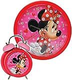 2 TLG. Set Wanduhr & Wecker -  Disney Minnie Mouse  - 25 cm groß - Uhr - Analog - Wohnzimmer & Kinderzimmer - für Mädchen Kinder - Kinderuhr - Mäuse Mickey ..