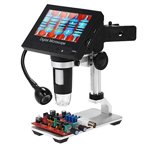 KKmoon Microscopio Digitale Portatile 1000x Display LCD da 4,3 Pollici Lente da Ingrandimento 720P con Supporto in Metallo e Lampada Orientabile a 360 ° per Strumento di Saldatura per Riparazione