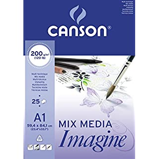 Canson 200005969 Imagine Mix-Media Papier, A1, rein weiß