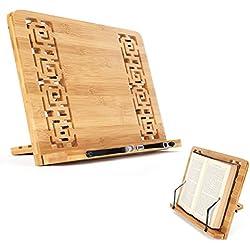 Soporte de Libro para Lectura Atril Ajustable Plegable de Bambú Estantes Escritorio Portátil para Leer Papeles Documentos Archivos Notación Musical de Piano Tableta Ordenador Ipad Iphone, Regalo Ideal para Lectores (Elegante)