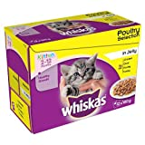 Whiskas 2-12 Months Kitten Pouches Poultry Selection in Jelly, 12 X 100 G