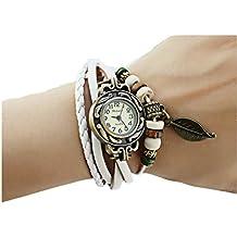 TheWin - Abalorio para reloj de pulsera de mujer, diseño de hoja