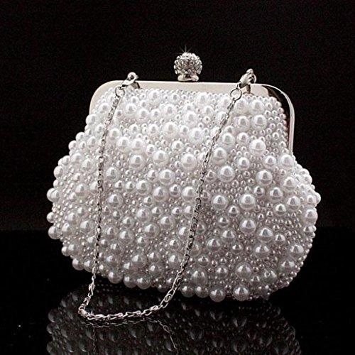 Neue Handtaschen Mini-Diamant-Abendtasche mano Perlen Tasche Abendtasche ( Colore : Nero ) Bianca