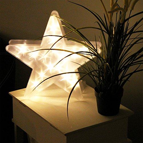 LED Stern 32,5x31x6cm Lichterdekoration Sterneneffekt LED-Lampe Stimmungslicht Weihnachtsdekoration Dekoleuchte weihnachtliches Dekolicht Batteriebetrieb