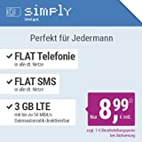 simply LTE 1500 Allnet Flat [SIM, Micro-SIM und Nano-SIM] 24 Monate Laufzeit (FLAT Internet 3 GB LTE mit max. 50 MBit/s mit deaktivierbarer Datenautomatik, FLAT Telefonie, FLAT SMS und FLAT Europa, 8,99 Euro/Monat)