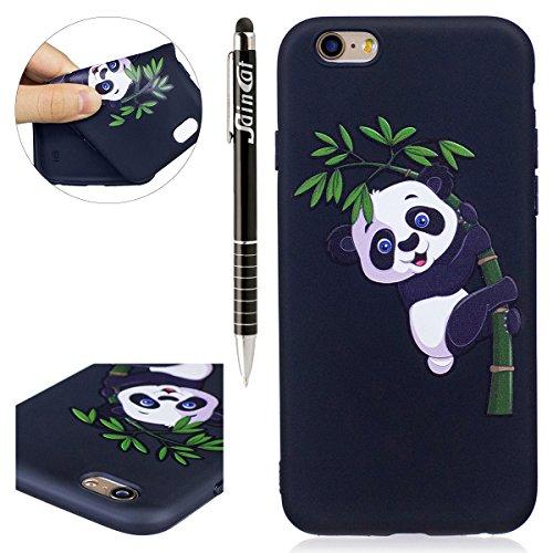 Coque iPhone 6, iPhone 6S Coque en Silicone, SainCat Ultra Slim TPU Silicone Case Cover pour iPhone 6/6S, Silicone 3D Conception Coque Anti-Scratch Soft Gel Cover Coque Caoutchouc Fleur Transparent Si Bamboo Panda