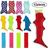 12 Pezzi Borse Porta Ghiaccioli Borse con Maniche Pop Ice Forma di Sirena e Squalo Coperture per Ghiaccioli