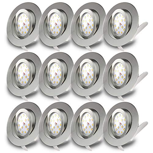 B.K. Licht lot de 12 spots LED encastrables ultra-plats, orientables, plafonnier design, éclairage encastré LED intérieur, blanc chaud, 230V, IP23, 12x5W