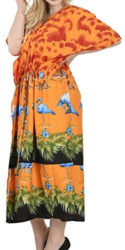 La Leela Badebekleidung wunderschönen Flamingo glatt alle in Damen decken Strand Bikini up casual Abendkleid plus Dressing Nachthemd Lounge Abend tief Hals lange lose Kimono drastring Maxikleid Kaftan Sunrise Orange