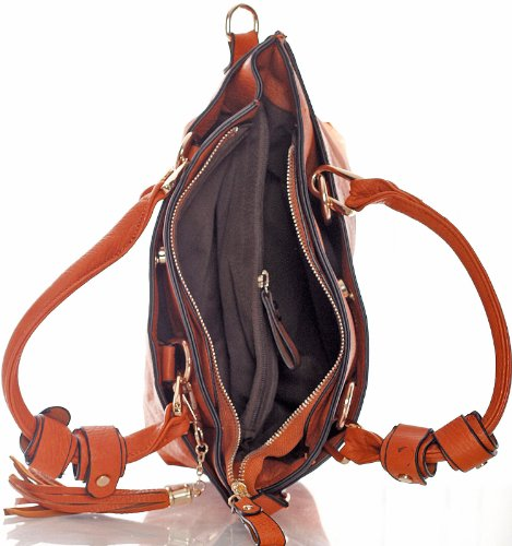 Big Handbag Shop, Borsa a secchiello donna One Marrone (Light Tan)