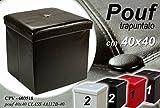 CPR Call Blocker Pouf Contenitore 40X40CM Ecopelle Nero Porta Oggetti CUBO