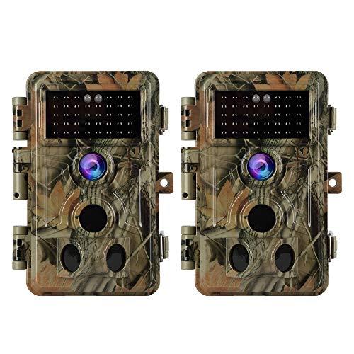 2er Wildkamera Jagd Kamera Fotofalle 20MP Bilder 1080P Video mit Ton für Naturbeobachtung- Forschung und Überwachung, 120°Weitwinkel IP66 Wasserdicht, 20m Nachtsicht, Bewegunsmelder(2PIR + Audio X 2)