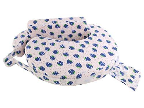 MomToBe Cotton Fabric Feeding/Nursing Pillow- HD Foam, Blue , Strawberry Print