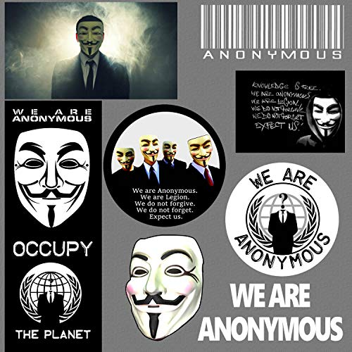 CELYCASY Anonymous Anti NWO Illuminati Regierung, Anarchie-Pack, 8 Aufkleber -