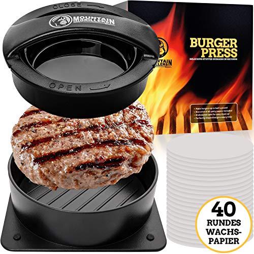 Mountain Grillers Burgerpresse Patty Maker | Handliche antihafte Form mit 40 STK backpapier für perfekte Burger, Patties oder Frikadellen (Burgerpresse Hamburger Maker)