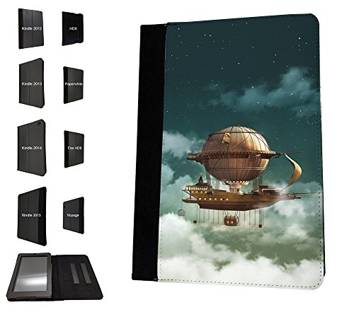 Preisvergleich Produktbild 003571 - Fantasy Sky Flying Ship Galleon Design Amazon Kindle Paperwhite 6'' 2014/2016 TPU Leder Brieftasche Hülle Flip Cover Book Wallet Stand halter Case