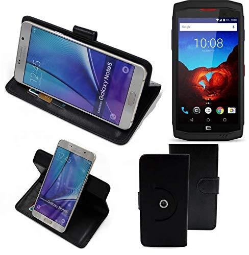 K-S-Trade® Case Schutz Hülle Für -Crosscall Trekker X3- Handyhülle Flipcase Smartphone Cover Handy Schutz Tasche Bookstyle Walletcase Schwarz (1x)