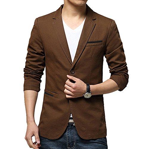 iPretty Fashion costume et vestes Slim Cotton Thin Casual Deux boutons Blazer Coat Outwear pour homme Brun