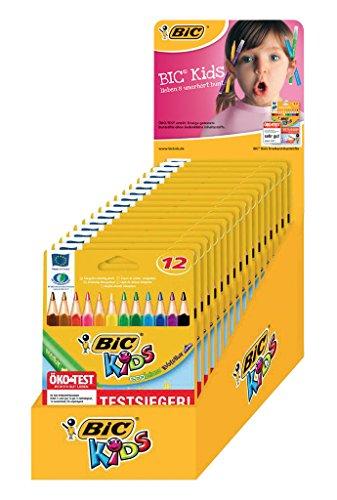 BIC KIDS Dreikant-Buntstifte EVOLUTION Triangle ECOlutions, 12 Farben sortiert, Thekendisplay mit 19 Kartonetui à 12 Stück