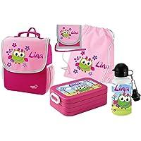 Mein Zwergenland Set 6 Kindergartenrucksack mit Brotdose, Turnbeutel aus Baumwolle, Trinkflasche und Brustbeutel Happy Knirps NEXT mit Name Pink preisvergleich bei kinderzimmerdekopreise.eu