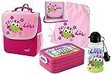 Mein Zwergenland Set 6 Kindergartenrucksack mit Brotdose, Turnbeutel aus Baumwolle, Trinkflasche und Brustbeutel Happy Knirps Next mit Name Eule, 5-teilig, Pink