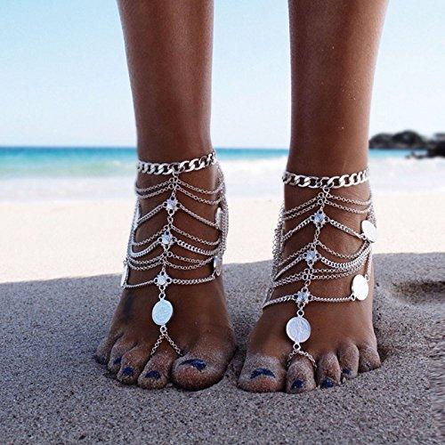 Meigold Vintage Beach Fußkettchen Multilayer Resizable Münze Anhänger Fußkettchen Mädchen Dame Schmuck Gold Silber
