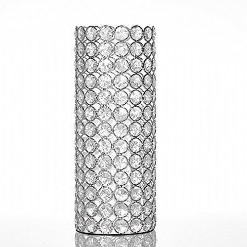 VINCIGANT Plata Cilindro Hueco Cristal Florero para Bouquet Artificial, Boda Hogar Comedor Centros de Mesa Decoración,Regalo de San Valentin