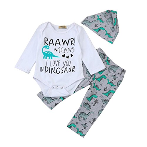 KaloryWee Newborn Infant Baby Boy Girl Raawr Means I Love You In Dinosaur Letter Print Romper Tops Dinosaur Pants Hat Outfits Set