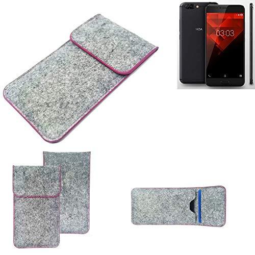 K-S-Trade® Filz Schutz Hülle Für -NOA H10le- Schutzhülle Filztasche Pouch Tasche Case Sleeve Handyhülle Filzhülle Hellgrau Pinker Rand