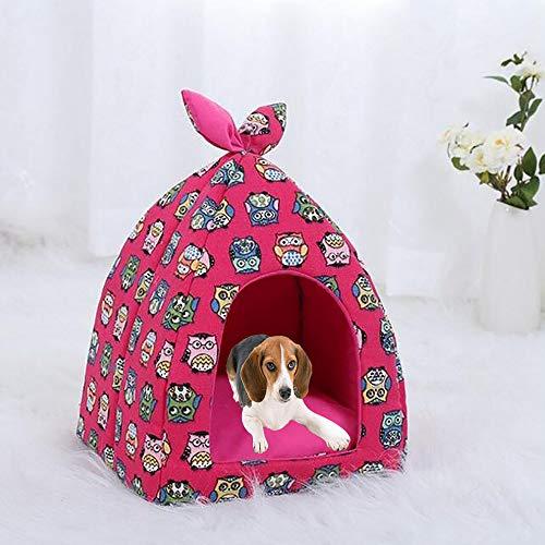 FXQIN Katzen-Haustierzelt, halbgeschlossenes Innen-Tipi für Katzen, Kätzchen und kleine Haustiere, mit abnehmbarem Kissenpolster, faltbar (Rose),M