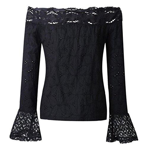 AmazingDays Chemisiers T-Shirts Tops Sweats Blouses,Femme T-Shirt à Manches Longues Dentelle Chemise Black