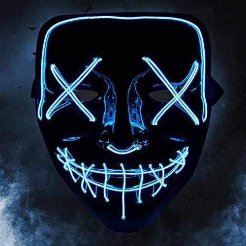 Blitz Der Kostüm Party - KOROSTRO Halloween Maske LED, Light EL Wire Cosplay Maske mit 3 Blitzmodi für Halloween Fashing Karneval Party Kostüm Cosplay Erwachsene Masken Batterie Angetrieben(Nicht Enthalten) (Blau)