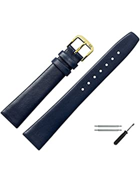 Uhrenarmband 10mm Leder blau glatt - Ersatzarmband inkl. Federstege & Werkzeug - Lederband mit trapezförmigem...