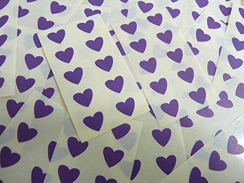 13x12mm Púrpura Oscuro Violeta Con Forma De Corazón Etiquetas, 130 auta-Adhesivo Código De Color Adhesivos, adhesivo Corazones para Manualidades y Decoración