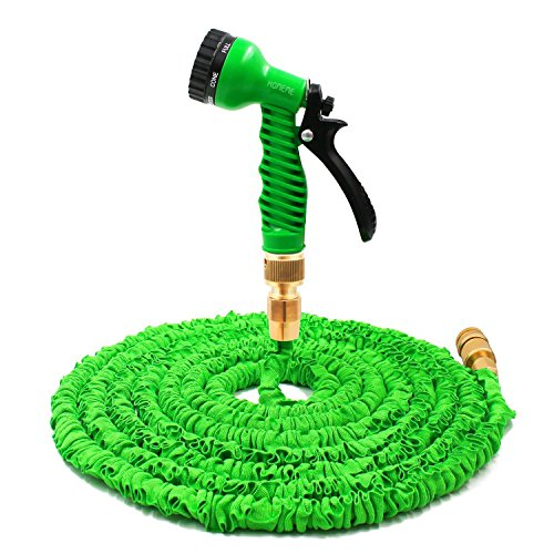 Tuyau d'arrosage, Homeme 150 Pieds extensible Flexible Magic Tuyau d'arrosage raccords de tuyau en laiton massif et 7 Pistolet pulvérisateur - Vert