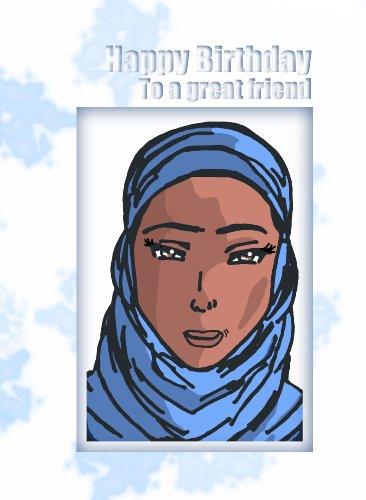 Blue Sky Interactive PrC144 - Tarjeta de felicitación para cumpleaños, diseño de cómic, mujer con hijab, con texto en inglés (6 unidades)
