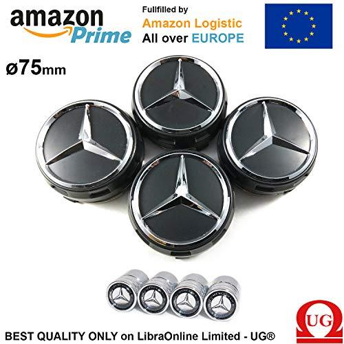 UG x4 Tappi Coprimozzo 75mm Logo Mercedes Nero Rialzato AMG Classe A B C E CLA CLK M ML S 4Matic - Inclusi Tappi per Pneumatici Ruote Borchie Cerchi Lega 00040009003594