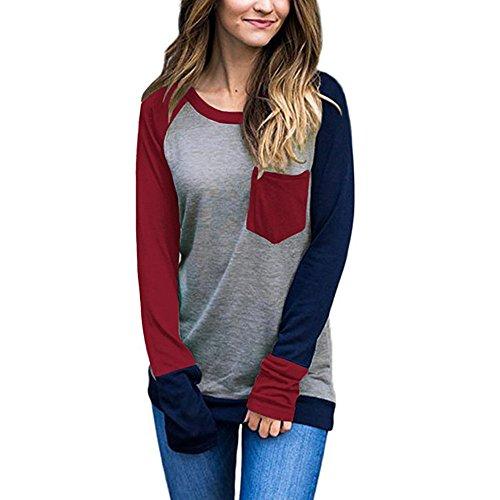 BBring Damen Langarmshirts, Mode Lässige Crew Neck Farb Block mit Front-Taschen Sweatshirt Bluse (XL, Rot)