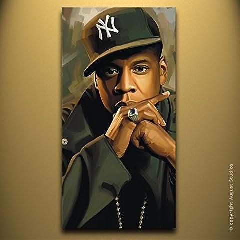 Jay-Z Rap Hip Hop originale Artista firmato pittura poster Stampa Su Tela # 3, Tela, 36