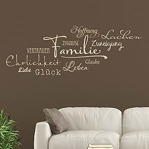 KLEBEHELD® Wandtattoo Familie Wortwolke Begriffe Sammlung Wanddeko Für  Zuhause Und Wohnzimmer Farbe Braun, Größe